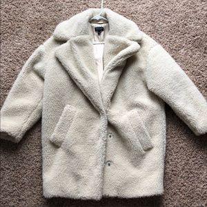 Topshop Cream Fuzzy Coat Size US 4